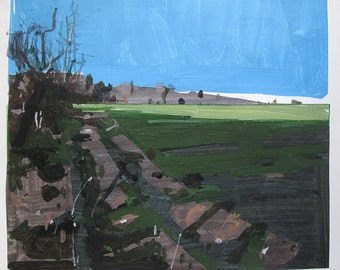 Christmas Eve Day, Original Landscape Collage Painting on Paper, Stooshinoff