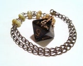 Brass Black and Gold Metallic D8 Beaded Necklace for Tabletop Gamers with Style OOAK