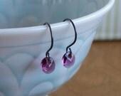 Amethyst  Earrings – Swarovski Crystal And Oxidized Sterling Silver Earrings