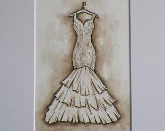 Wedding My Big Day Watercolor Bride Fashion Dress Art Bridal Bridesmaid Shower Gift Original Painting by Artist Debra Alouise