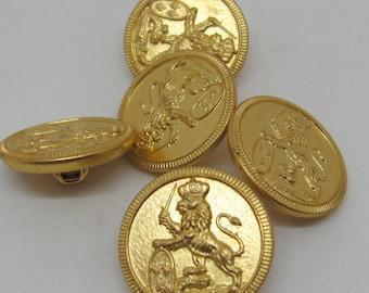 Five Lion Gold Tone Buttons