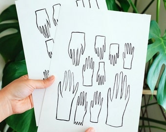 Hands ! 02 / Original drawing / A4 paper artwork / Signed / Indian ink / Pattern / Minimalist