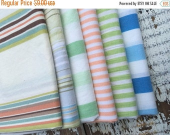 30% OFF SUPER SALE- Fat Quarter Bundle- The Stripe Stash  -Reclaimed Bed  Linens