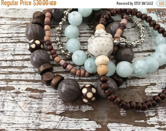 CRAZY SALE- Beaded Stack Bracelets-Glass and Wood-Cuff Accessories-Boho Style-Mountain Air