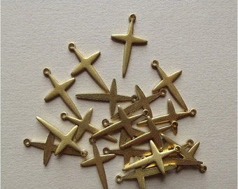 On Sale Vintage brass cross charms