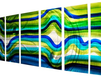 Large Multi Panel Metal Wall Art in Blue, Silver & Green - Decorative Contemporary Abstract Wall Hanging - Over and Out by Jon Allen