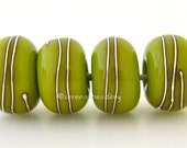 Lampwork Glass Beads 4 Green PISTACHIO with Fine Silver Wire Wraps - Handmade - taneres