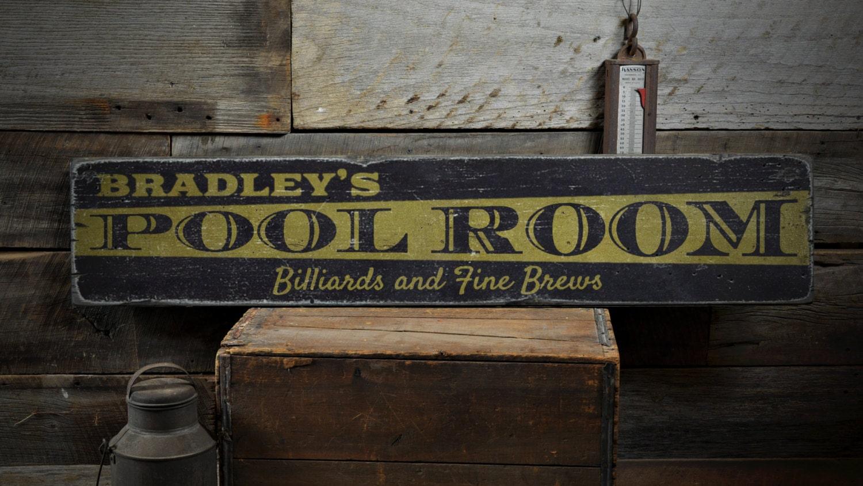 Man Cave Room Sign : Pool room wood sign custom name man cave billiards