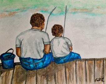 "Fishing trip, Watercolor Painting, 9x12"", Fine Art, Water Color Paintings, Original Art Painting, Figure Painting"