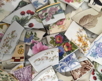 Mosaic Supplies Broken Plate Tiles Art Hand Cut Vintage Antique China Pieces Chintz 1000 Big Lot
