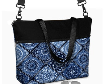 "17 inch Laptop Bag  with long cross body strap / Laptop Tote Bag / Women's Briefcase / 15.6"" Laptop Case /  Porcelain Blue, black  MTO"