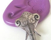 Fancy ELEPHANT HEAD Silicone Mold Mould 42 mm Polymer Clay Sugarpaste Fimo Cake Decorate Icing Tool Fondant Sugarcraft