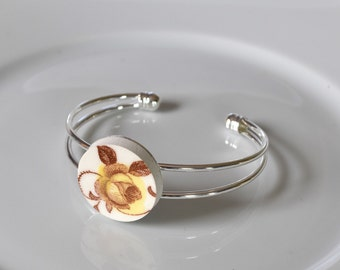 Recycled China Cuff Bracelet - Yellow and Brown floral
