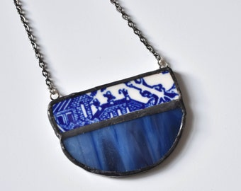 Broken China and Stained Glass Bib Necklace - Blue