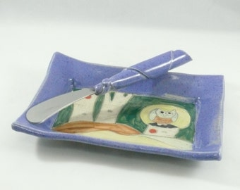 Purple side plate, bread plate, spoonrest, butter dish, side dish, jewelry bowl, candleholder, cookie plate, key bowl, owl dish, 245