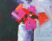 flower painting original acrylic painting flowers in vase abstract floral dramatic flowers