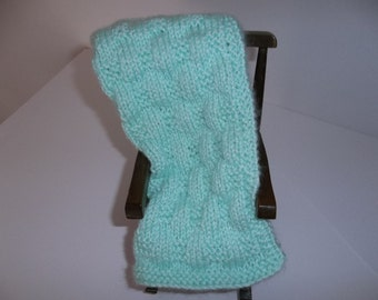 Green Doll Blanket -  Hand Knit Minty Green - Doll Blanket - Throw or Afghan - Security and Comfort Blanket