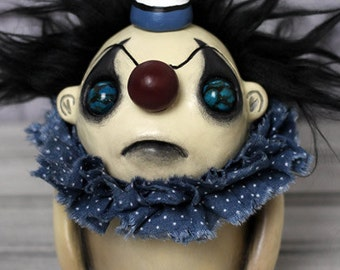 Birthday Clown Doll - Blue Bruno Mini - OOAK Art Doll Sculpture Gothic Creepy Art