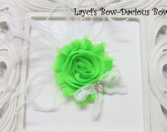 Neon Green {Ellie} Flower Hair Clip, flower clip, shabby flower, neon green flower, more colors available