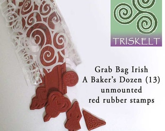 Irish Rubber Stamps Grab Bag Special 13 Assorted Unmounted Stamp Designs A Baker's Dozen SHOP SPECIAL