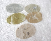 Oval pieces, appliques, 9 pieces, sage green, yellow, embroidered fabrics