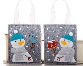 Christmas Ornaments Set, 2 Handmade Snowmen, Hand Embroidered Ornaments, Advent Calendar Gifts, Housewarming Gifts, Grey and Turquoise Felt