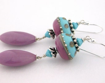 Turquoise mauve purple lampwork sterling earrings cserpentDesigns dots phosphodiderite