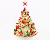 Miniature Ceramic Christmas Tree Peppermint Candy Little Tabletop Electric Tree 6 Inches Tall