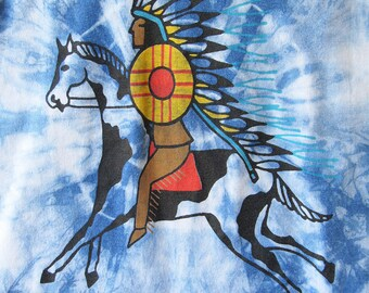 Little Boys Indigo Dyed Warrior Chief Tee. Boys Size 4 or 6