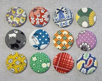 Fabric Button Magnets - Set of 12 - Feedsack and Novelty Prints 4
