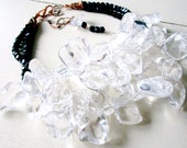 Black Ice Petals - Crystal Quartz & Vintage Jet Necklace - Statement - Multi Strand - Etsy Jewelry - catROCKS - Recycled Rocks - Black White