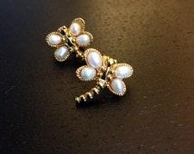 Vintage Avon Flights of Fancy Gold and Freshwater Pearls Earrings