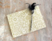 7x10 Wedding Guest Book, Gold on Cream, unlined torn pages, Ready to Ship