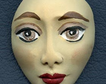 Polymer Clay  Detailed Tan  Art Doll Face Cab with Brown Eyes  Undrilled TNFC 1