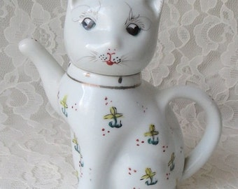Vintage Lucky Beckoning Cat Asian Small Teapot with Yellow Flowers & Blue Eyes Chinoisserie