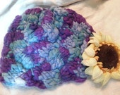 Blue and purple entrelac knit hat