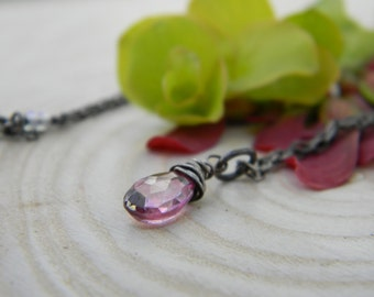 beautiful pink topaz necklace - oxidized silver