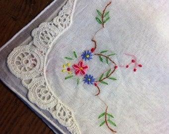 Sweet Flower Handkerchief, Embroidered Hankie, Wedding Handkerchief, White, Ladies Hankies