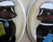 Mr. & Mrs. Skunk, Homebodies- 2 Original Acrylic Paintings on Wood, MarmeeCraft