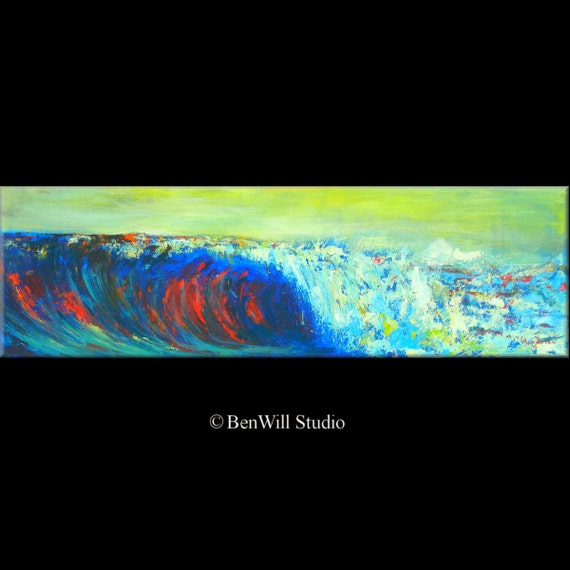 Abstract oil Painting Seascape Wave Original Artwork by BenWill