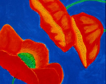 Brilliant Poppies Original Painting