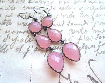 Rose Quartz Gemstone Earrings, Pink  Rose Quartz Dangle Earrings, Oxidized Sterling Silver.