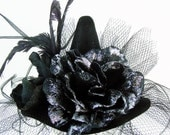 "Mini Witch HAT ""Serena"" Glitter-Glam Small Black Hat with Netting Veil Black Roses with Silver or Purple Sparkle Halloween Party Hat"