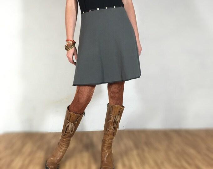 Skirt, Snap Around Skirt, Gray Green Sweatshirt Knit, Plus Size  FREE SHIPPING