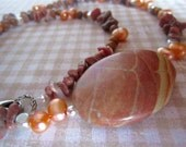 Rhodonite, jasper and pearl necklace