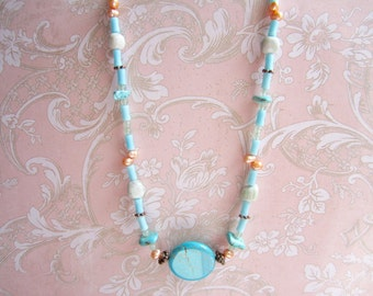 Flower Jasper necklace with turquoise, pearl, cat's eye / ladies jewelry in blue and peach