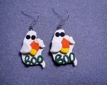SALE - 50% OFF - Halloween Ghost Candy Corn Polymer Clay Charm Earrings Handmade BOO