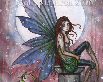 Sienna Blue - Original Watercolor and Mixed Media Painting by Molly Harrison - Fantasy, Fairy, Fairies, Faery, Artwork