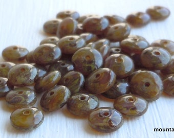 Czech Pressed Glass Rondelle Spacer Beads 6mm Milky Topaz Picasso G - 204