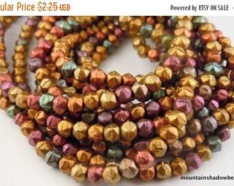 25% OFF Sale English Cut Beads -  3mm Matte Metallic Bronze Iris Czech Glass 50 pcs (G - 127)